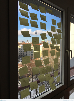Post-it notes on a window glass