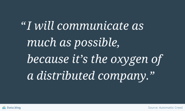 """I will communicate as much as possible, because it's the oxygen of a distributed company"""