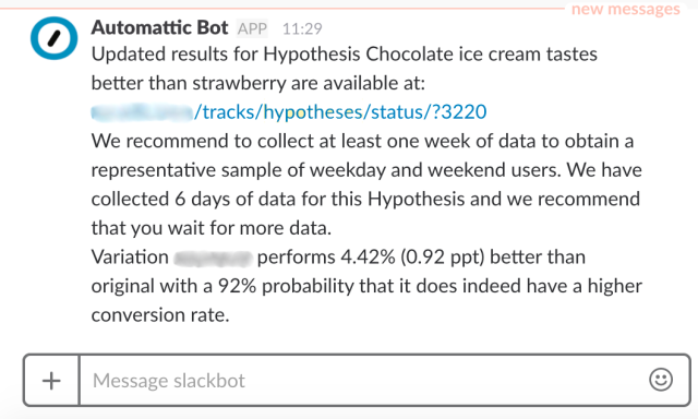 Slack message sent by Hypotheses.