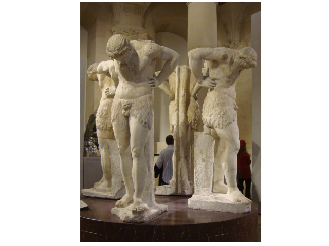 Illustration: four statues contemplating own navels
